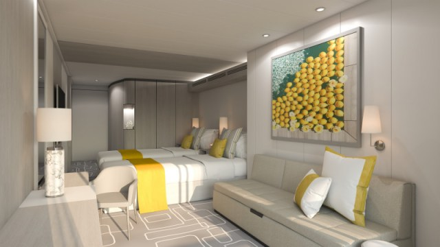 Celebrity Cruise Beyond stateroom yellow