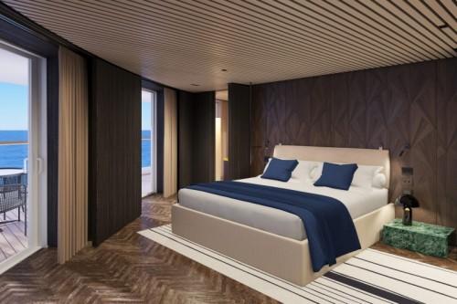 Norwegian cruise line cruise ship norwegianprima the haven deluxe owner suite with balcony master bedroom rendering