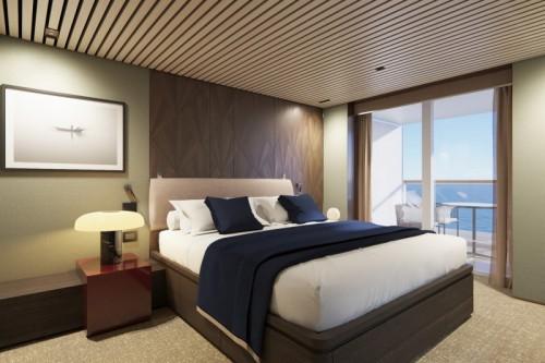 Norwegian cruise line norwegianprima prima thehaven owner suite with large balcony bedroom rendering