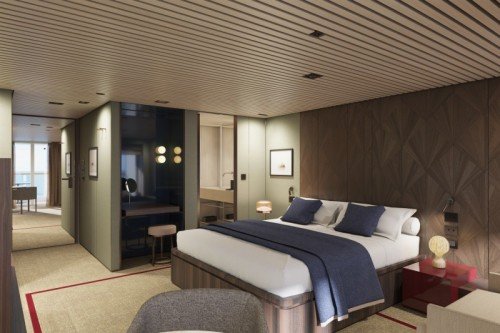Norwegian cruise line prima norwegianprima thehaven penthouse with balcony bedroom rendering