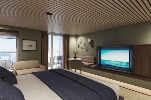 Norwegian cruise line prima norwegianprima thehaven penthouse with balcony bedroom alternative rendering