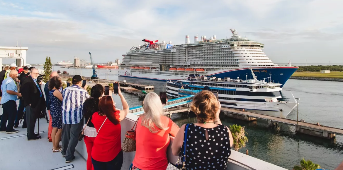 Carnival Cruise Line Mardi Gras cruise ship arrives in Port Canaveral
