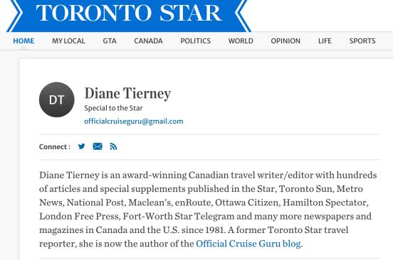 Toronto Star Travel Cruise articles Cruiseguru Diane Tierney