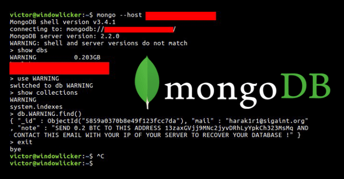 mongodb database ransomware - A person Hijacking Unprotected MongoDB Databases for Ransom