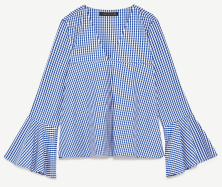 Gingham top with belled sleeves