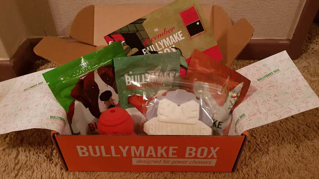 A Bullymake Box filled with dog goodies