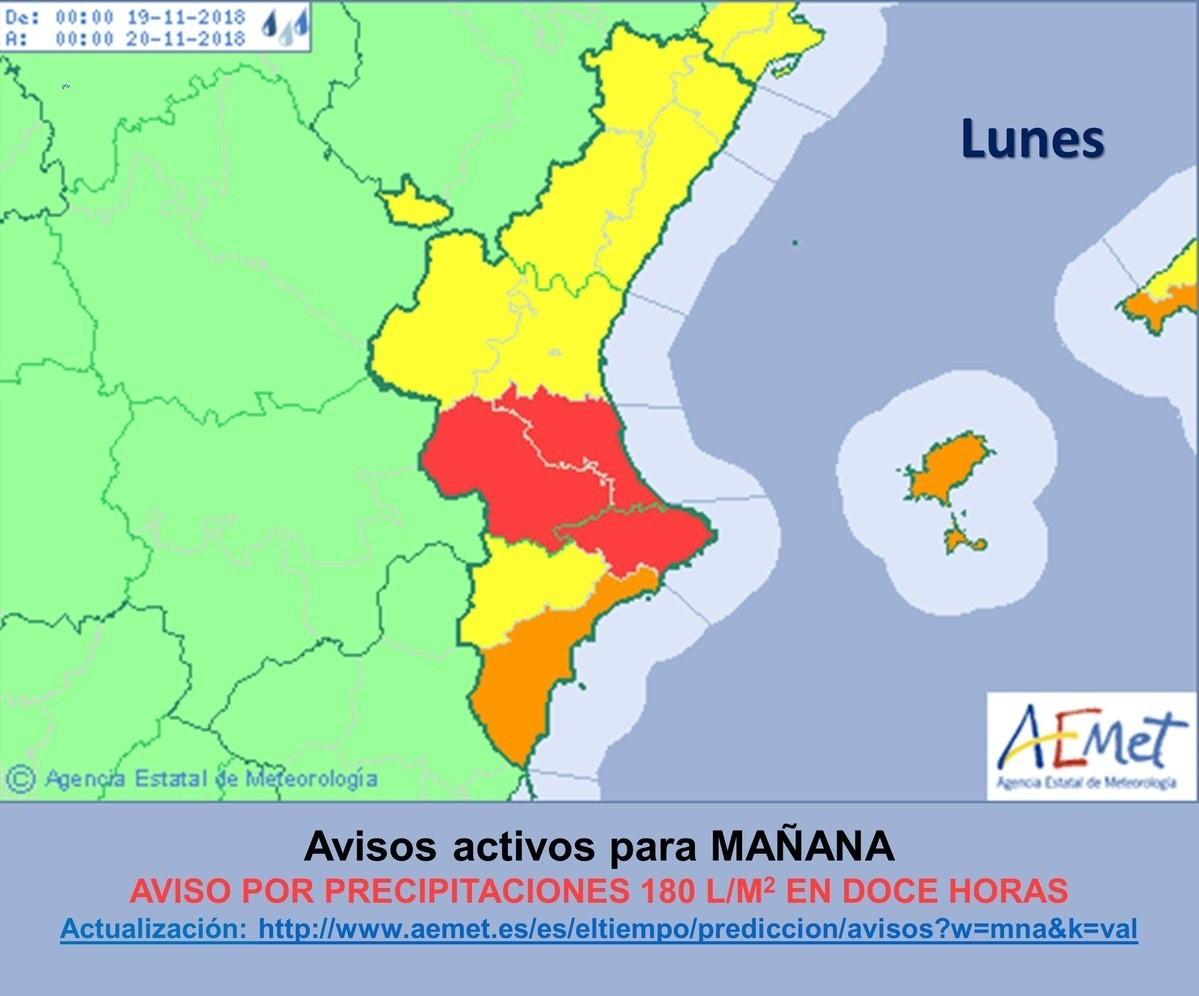 Aemet activa el aviso rojo por lluvias en el sur de Valencia y el norte de Alicante para este lunes