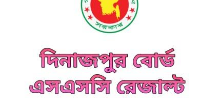 SSC Result 2020 Dinajpur Board Marksheet & Number