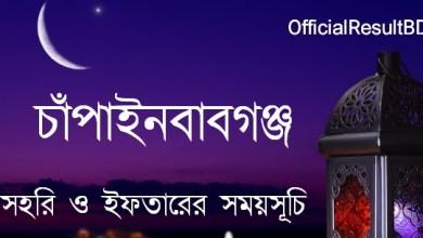 চাঁপাইনবাবগঞ্জ জেলার সেহরি ও ইফতারের সময়সূচি ২০২১ Ramadan Calendar 2021 Chapainawabganj Sehri & Iftar Time