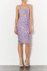 TopShop. Pastel Leopard Cut Out Dress.