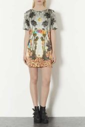 TopShop. Deer Print Satin Shift Dress.