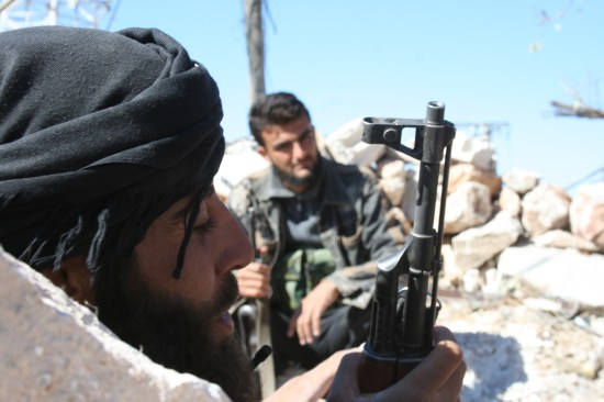 Al Nusrah fighters in Areha in October. David Axe photo.