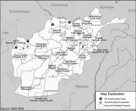Major Afghan resource locations. USGS illustration