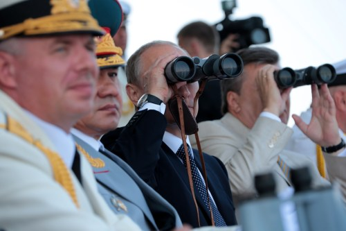 Russian Pres. Vladimir Putin at a military demonstration in 2012. Russian Ministry of Defense photo