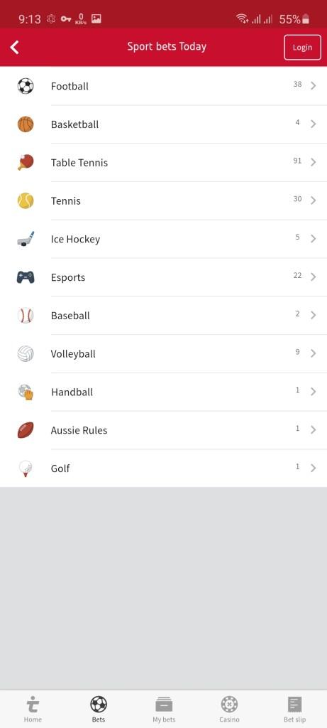 Screenshot of Tipico App