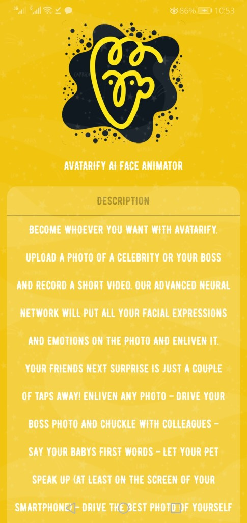 Screenshot of Avatarify App