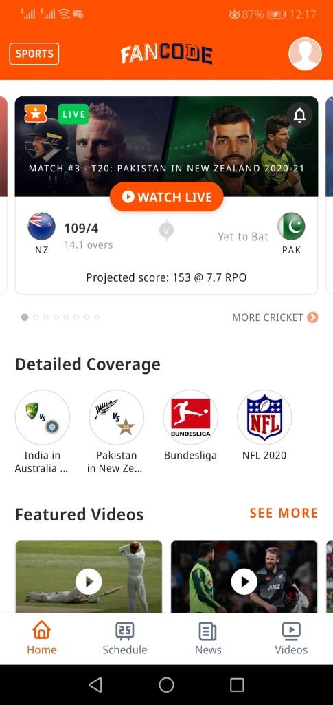 Sceenshot of Fan Code App Apk