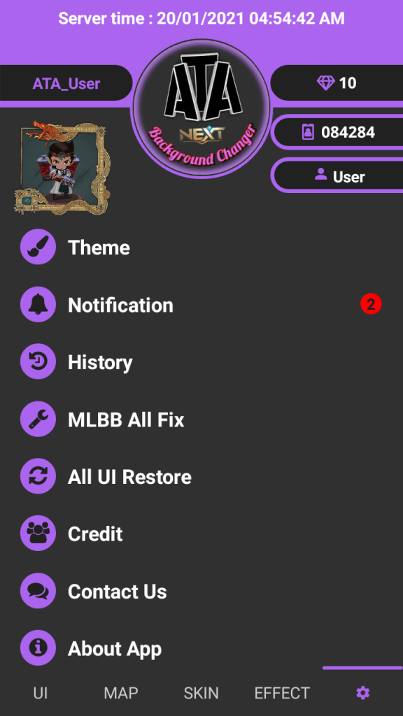 Screenshot of ATA MLBG Changer  App