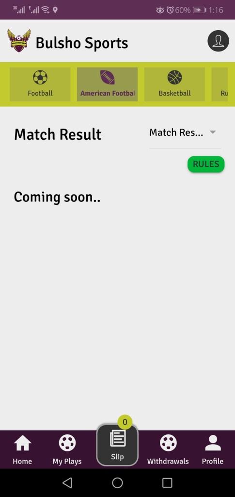 Screenshot of Bulsho Sports  App