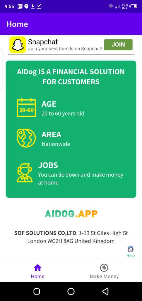 Screenshot of Aidog App