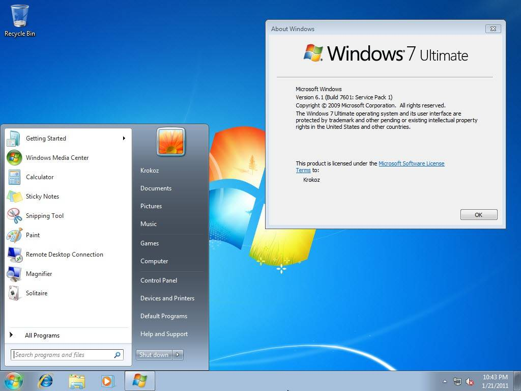 windows 7 ultimate about windows