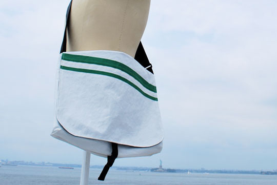 Hand-crafted from used sailboat sails by Katherine Rasmussen out of her Brooklyn studio. Also check out the Christmas stockings for an especially nautical Noel. Got old sails lying around? Donate them and get a free bag or pillows made out of your sailcloth.