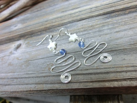 Silver plated wire with blueberry quartz and mother of pearl stars