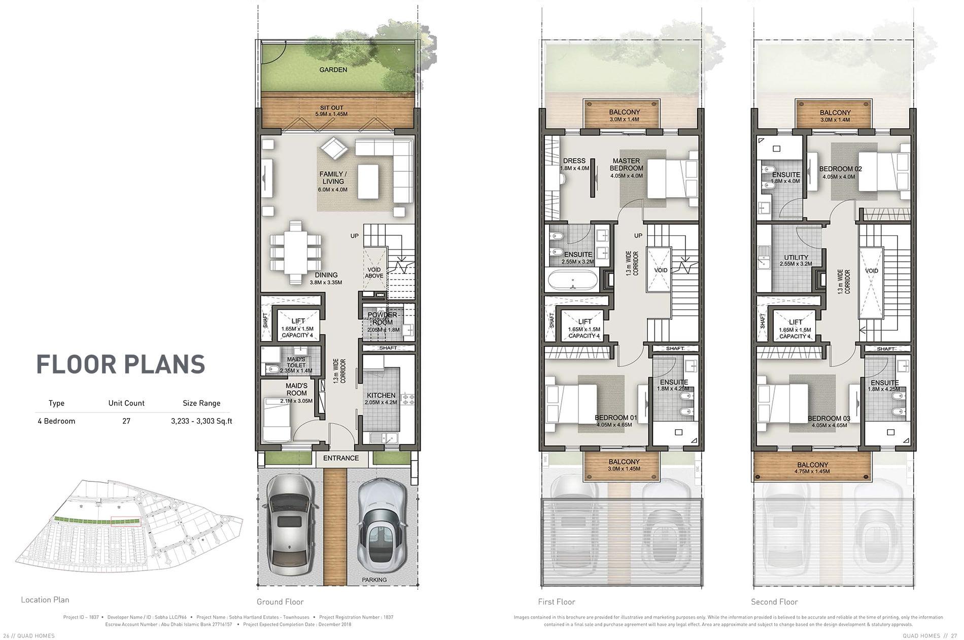 Quad Homes Sobha Hartland Floor Plans