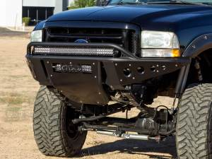 "1999 - 2007 Ford F250 / F350  Standard Front Bumper with Stealth panels and 40"" light bar mounts and 20"" light bar mount in skid in Hammer Black with Satin Black panels"