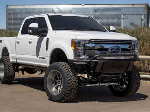 Ford Super Duty ADD Lite Front Bumper with 10 Dually mounts/universal plate on top with top hoop in Hammer Black with Satin Black Skid Plate