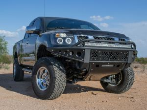 """2004 - 2015 Nissan Titan Standard Front Bumper with Stealth Panels and 40"""" light bar mounts and 10"""" light bar mount in skid in Hammer Black with Satin Black Panels"""