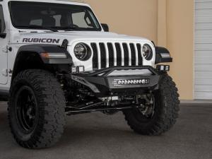 "Jeep Wrangler JL Stealth Fighter front Bumper with Top Hoop with 5 dually mounts/universal 20"" in center and pair of dually mounts on each side and D-Ring Clevis Mounts in Hammer Black with Satin Black Panels"