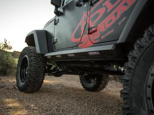 "Jeep JK Stealth Fighter Jeep side steps for 4 door with ADD logo with LED strip mount and a-series mount and 6"" SR mounts in Hammer Black"