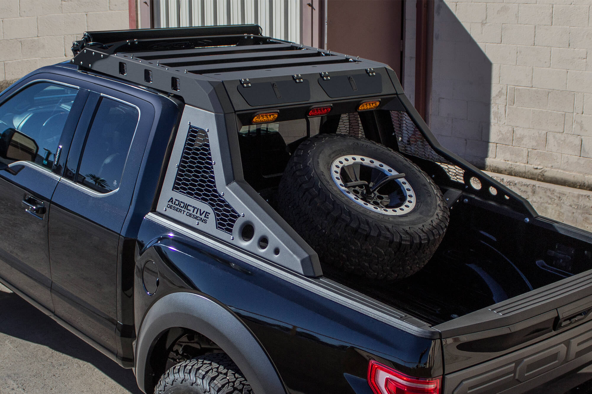 2017 Ford Raptor Honeybadger Chase Rack Tire Carrier Off