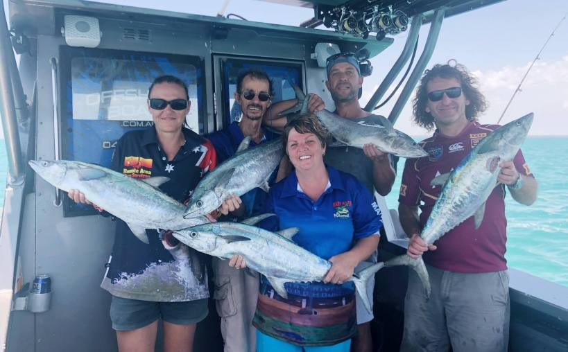 Jigging for Spanish Macs with Offshore Boats bluewater charters