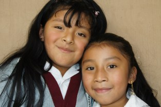 Happy schoolgirls in Guatemala.