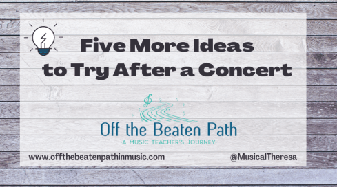 Five more ideas to try after a concert