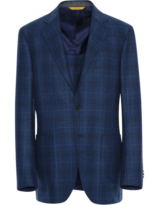 Canali Kei Jacket in Blue Wool