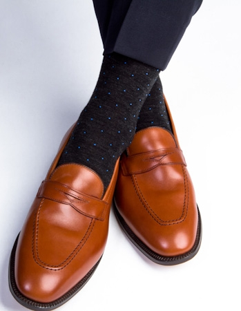 Dapper Classics (Charcoal & Royal Blue Dots, Merino Wool)