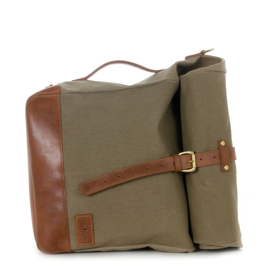 JPLC RollTote in sand canvas with tan leather trim