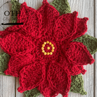 Christmas Poinsettia Coaster Crochet Pattern