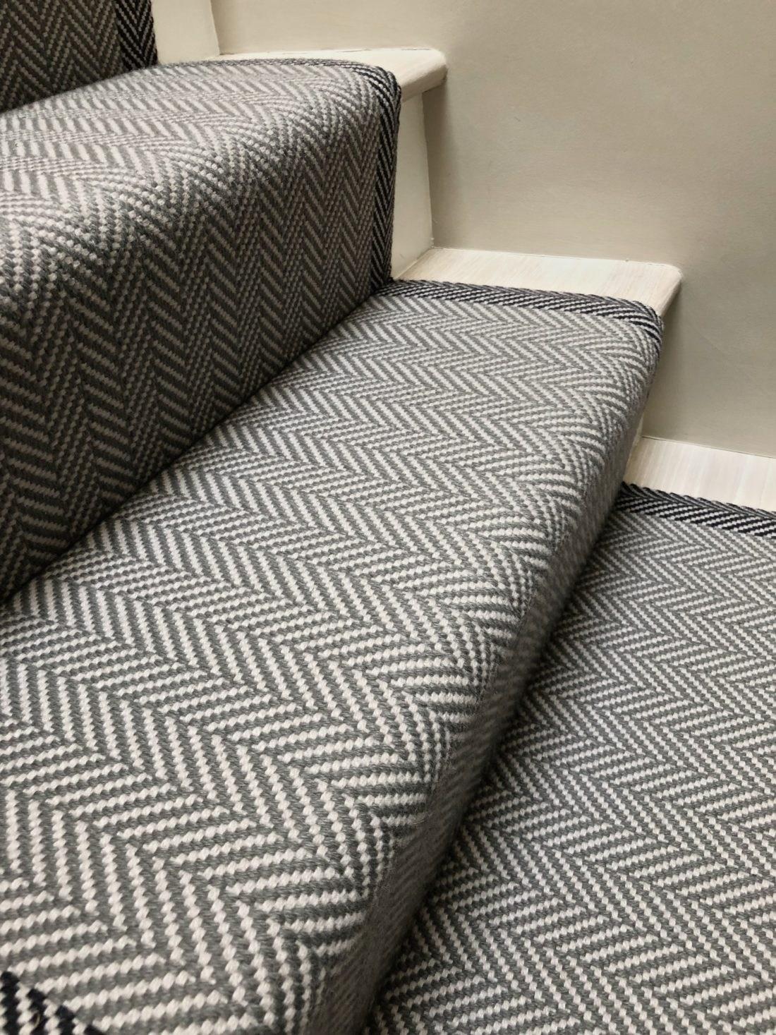 Felton Border Seal Grey Off The Loom | Grey Herringbone Carpet Stairs | Antelope | Victorian | Middle Stair | Roger Oates | Blue