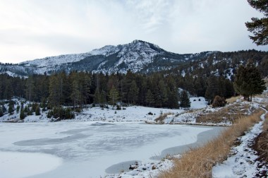 The largest of the Beaver Ponds has an excellent view of Sepulcher Mountain.