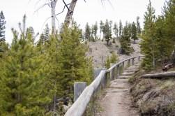 Short, stair climb to the falls viewing platform