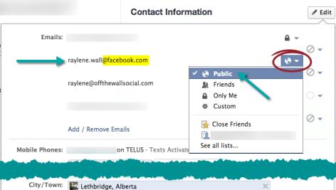 make facebook email public
