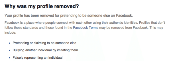 Why was my facebook profile removed - business profile