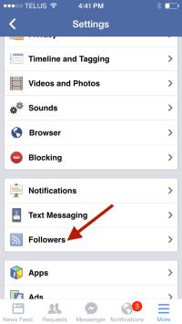 Facebook Account Settings - Mobile