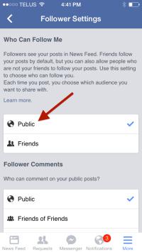 Facebook Follower Settings - Mobile