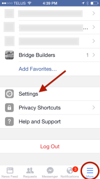 Facebook MORE options - mobile