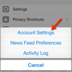 visit account settings on Facebook App